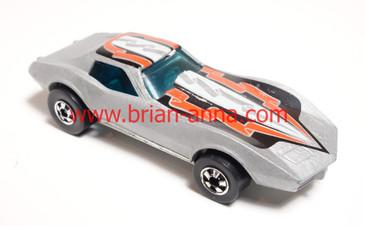 HTF Hot Wheels Gray Corvette Stingray with rare color tampo.
