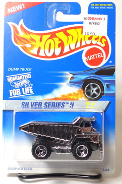 Hot Wheels 1996 #420 Silver Series II Dump Truck with Chrome Dump Bed