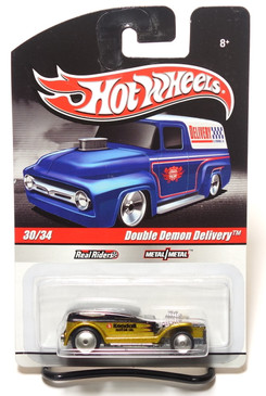 2010 Hot Wheels Delivery Series, Kendall Motor Oil Double Demon Gold/Black