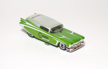 2010 Hot Wheels Delivery Series, Crower Cams '59 Cadillac Funny Car in Silver/Green, mint loose