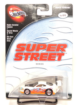 100% Hot Wheels Super Tsunami  Super Street Series, White/Orange Rubber Tires