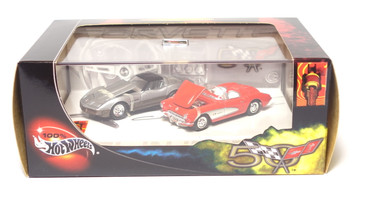 100% Hot Wheels Corvette 2-car set, with 1957 Corvette & 1982 Corvette