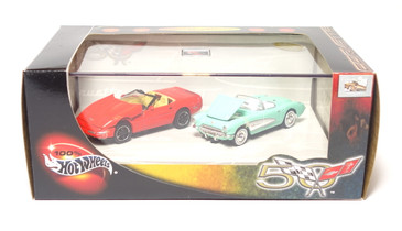 100% Hot Wheels Corvette 2-car set, with 1957 Corvette & 1996 Corvette