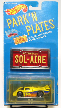 Hot Wheels Park n Plates Sol-Aire, Black Windows, Red plate w/yellow lettering