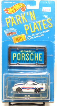 Hot Wheels Park n Plates Porsche, UH wheels, Blue Plate w/yellowing lettering