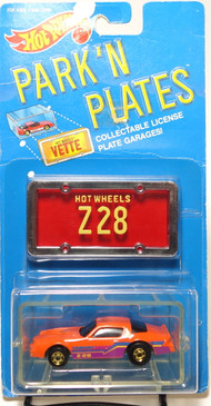 Hot Wheels Park n Plates Camaro Z-28 Orange, gold HOC wheels, Red plate w/yellow lettering