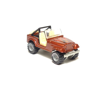 Hot Wheels Jeep CJ-7 metalflake Red/Brown with GYG Real Riders, loose