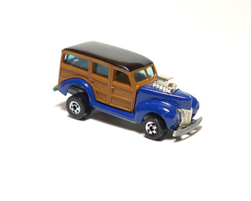 40's Woodie, Dark Blue enamel, dark wood panel, Malaysia base with blackwall wheels, loose (x578)