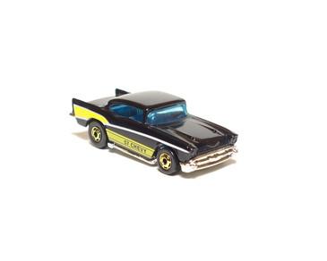Hot Wheels '57 Chevy in Black, hogd wheels, Hong Kong Base, loose