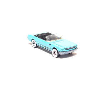 Hot Wheels '65 Mustang Convertible in Teal, Whitewalls, Hong Kong base, loose