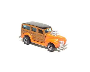 Hot Wheels 40's Woodie, Enamel Orange Hi-Raker, wood grain panels, Hong Kong base with blackwall wheels, loose