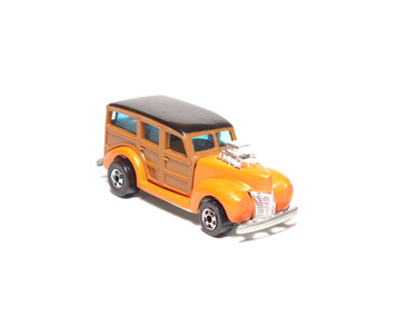 Hot Wheels 40's Woodie, Enamel Orange Hi-Raker, smooth wood panels, Hong Kong base with blackwall wheels, loose