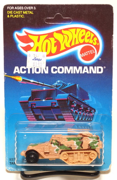 Hot Wheels Old Blister Action Command Unpunched Tank Gunner in Camo Beige MOC