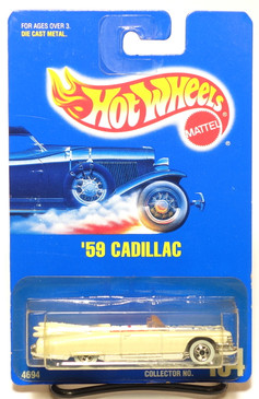 Hot Wheels Blue Card #154 '59 Pearl White Cadillac Convertible w/WW