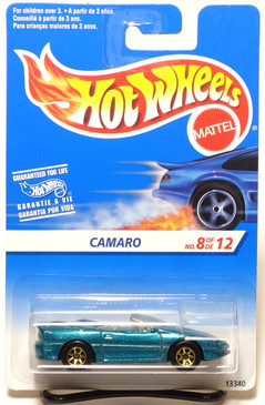Hot Wheels International Card 1995 Camaro Convertible, Metallic Green w/gold 7-spk