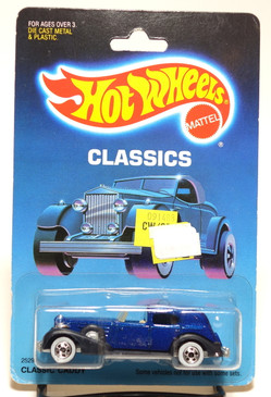Hot Wheels Old Blister Classics - Classic Caddy in Sapphire Blue with Whitewall wheels MOC