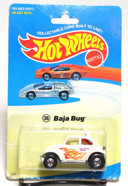 Hot Wheels Old Blister Card - Baja Bug in White and Blackwall Wheels MOC