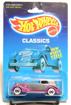 Hot Wheels Old Blister Classics - Classic Caddy in Metalflake Silver w/purple fenders and Whitewall wheels MOC