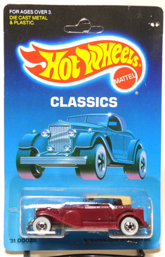 Hot Wheels Old Blister Card - Unpunched Classics Pkg, '31 Doozie in Magenta MOC
