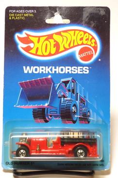 Hot Wheels Old Blister Card - Workhorses Pkg, Old Number 5 in Red MOC