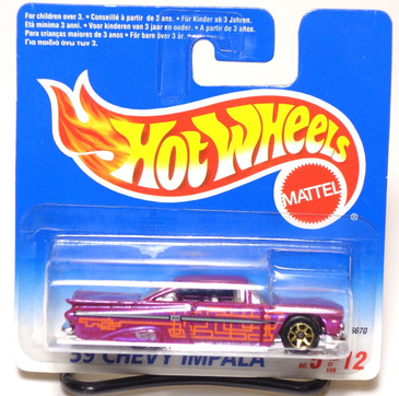 Hot Wheels International Blister '59 Chevy Impala, Purple, Gold 7spk wheels