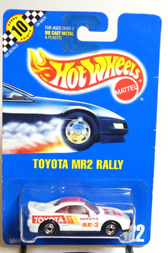 Hot Wheels Blue Card Toyota MR2 Rally in White with HO wheels in Chrome, Coll#122