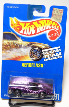Hot Wheels Blue Card Gleam Team Edition Pink Aeroflash, UH wheels, Coll#191