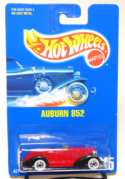 Hot Wheels Blue Card Auburn 852 in Red with Whitewall Wheels, Coll#215