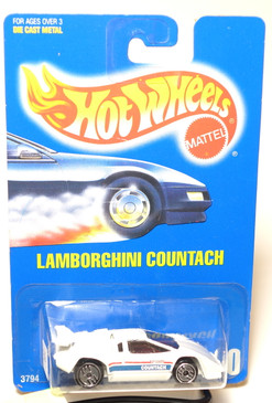 Hot Wheels Blue Card Lamborghini Countach in White, No hood tampo with UH wheels, Coll#60