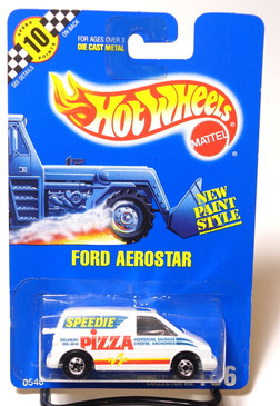 Hot Wheels Blue Card Ford Aerostar Speedie Pizza w/phone number, Coll#186