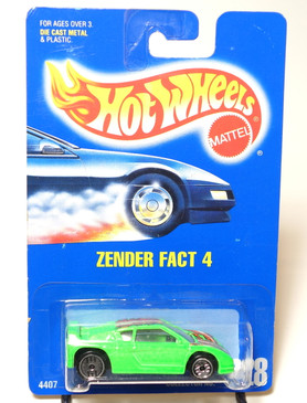 Hot Wheels Blue Card Zender Fact 4 in Neon Green, clear windows, black interior, UH Coll#228