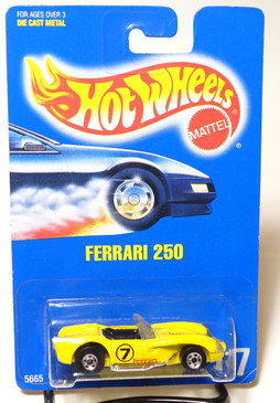 Hot Wheels Collector #117 Ferrari 250 in Yellow, BW wheels, yellow plastic base