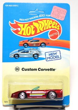 Unpunched---Hot Wheels Custom Corvette on Experimental Blister, Candy Apple Red, UH wheels MOC