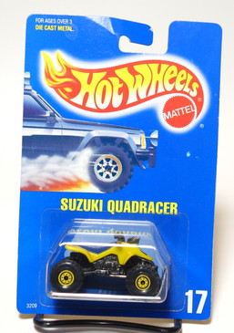 Hot Wheels Collector #17 Yellow Suzuki Quadracer w/CTYW wheels.  Rare Collector Number