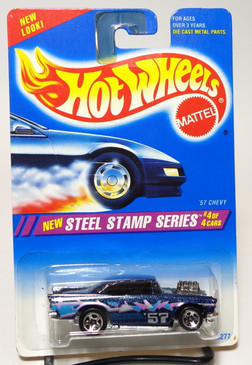 Hot Wheels '57 Chevy Steep Stamp Series #290, SP5, Gold Logo, Black interior, gray windows