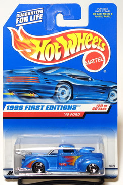 Hot Wheels 1998 First Editions '40 Ford Pickup in Light Blue, Sp5, Malaysia #654