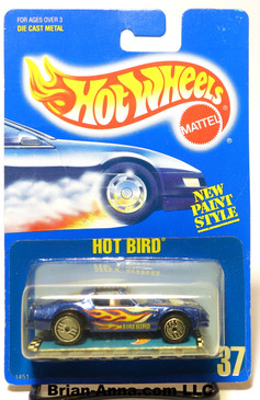 Hot Wheels Old Blue Card, Coll#37 Hot Bird Metalflake Blue, UH, Tan interior