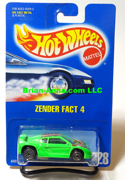 Hot Wheels Blue Back Coll#228, Zender Fact 4, Neon Green, Clear Windshield Variation