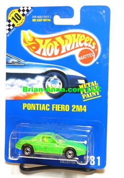 Hot Wheels Blue Back Coll#181, Light Green/glitter Pontiac Fiero 2M4, HOC wheels