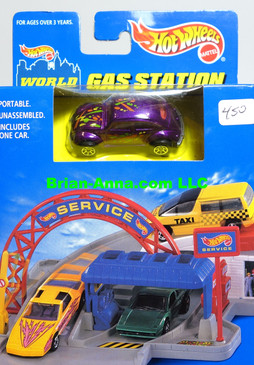 Hot Wheels World Sto & Go Gas Station, VW Bug metalflake purple, 7spk wheels