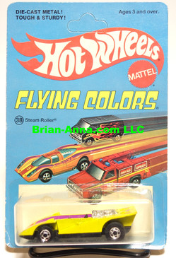 Hot Wheels Steam Roller in Yellow, Blackwall Wheels, Unpunched Flying Colors Package