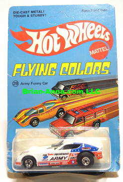 Hot Wheels Army Funny Car, Don Prudomme, White,  Blackwall Wheels, Unpunched Flying Colors Package