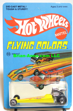 Hot Wheels Inferno in Yellow, Blackwall Wheels, unpunched, Flying Colors Package