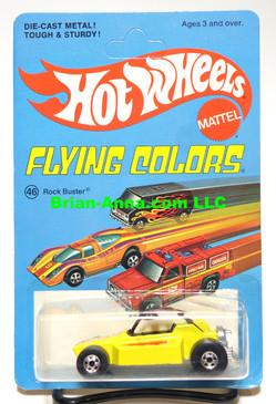 Hot Wheels Rock Buster, Yellow,  Blackwall Wheels, Unpunched Flying Colors Package