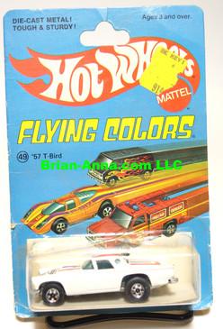 Hot Wheels '57 T-Bird in White, Blackwall Wheels, Flying Colors Package