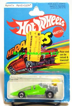 Hot Wheels HiRakers Turbo Wedge in Light Green, Blackwalls, Mint on card