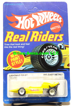 Hot Wheels Lightning Gold Real Riders on White Hubs