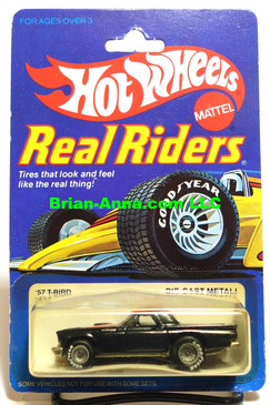 Hot Wheels Real Riders,  '57 T-Bird Black, Gray Hubs on Real Riders Card (ms3-567)