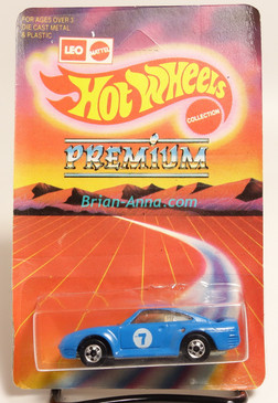 Hot Wheels Leo Mattel India Porsche 959, Blue on  large Premium card,  Unpunched Blister (MS3india-139)