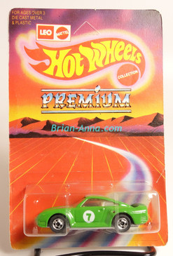 Hot Wheels Leo Mattel India Porsche 959, Green on  large Premium card,  Unpunched Blister (MS3india-137)